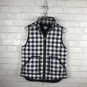 J.Crew Puffer Vest Navy Off White Buffalo Plaid
